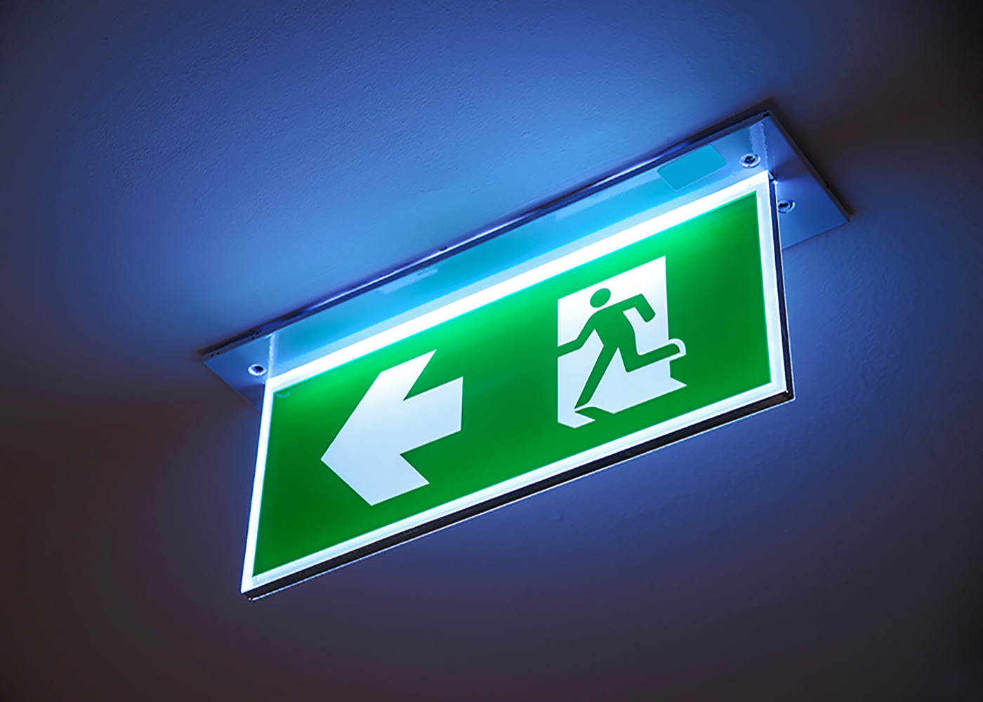 Fire Exit ,green Emergency Exit Sign.